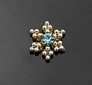 10pcs   Plated Golden Blue Rhinestone Snownflake DIY Accessories Nail Art Decoration