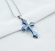 de acero de titanio gótico tres capas cruz colgante collar