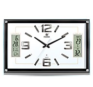 "POWER™ 13""H Upscale Style Rectangle Shape LED Perpetual Calendar Temperature Noctilucence Super Mute Wall Clock"