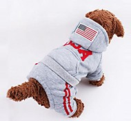 Hunde Kapuzenshirts Grau / Rose Winter Amerikaner / USA / Nationalflagge