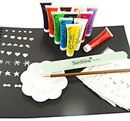 12 PCS Nail Art Paint &1 Painted Black Carbon &Nail File&Palette&Brush&Free 6PCS Stickers