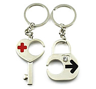 (A pair)Key and Lock Interesting High-grade Stainless Steel Keychain Symbol of Love
