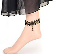 European Vintage  Lolita Pearl Gem Lace Anklet