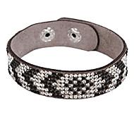 Multi-row Rhinestone Black & White Leather Bracelets