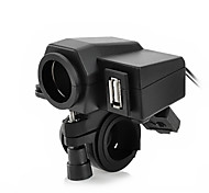Jtron Motorcycle Waterproof Power Adapter Cigrette Lighter Socket - Black