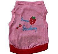Lovely Strawberry Pattern 100% Cotton Vest for Dogs (Pink XS-L)