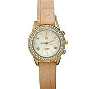 Women's Fashion Simple Scale Double Row Diamond PU Snakeskin Grain Watches