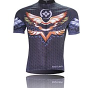 XINTOWN Men 's Wings Breathable Polyester Short Sleeve Cycling Jersey—Black