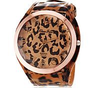 rodada simples discar pu banda relógio de quartzo analógico ocasional das mulheres (cores sortidas)