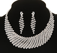 Fashion Diamanted Half Circle Silver Jewelry Set(Necklace&Earrings)(1 Set)