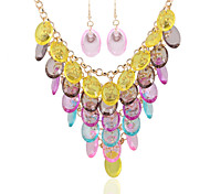 Fashion Color Crystal Beads Pendant Necklace