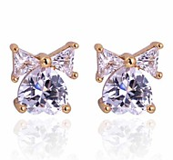 Women New Style Fashion Simple Bow Love Zircon Stud Earrings