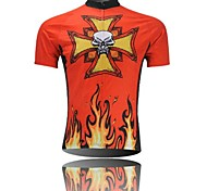 XINTOWN Men 's  Flame Skull Breathable Polyester Short Sleeve Cycling Jersey -Red+Yellow