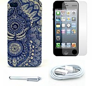 Beautiful Sunflower Pattern Hard Case and Screen Protector and Stylus and Cable for iPhone 4/4S