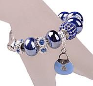 Blue Beads Bag Charm Bracelet