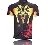 XINTOWN Men 's Devil Breathable Polyester Short Sleeve Cycling Jersey -Black+Yellow