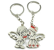 (A pair)Prince and the Princess Wings Interesting High-grade Stainless Steel Keychain Symbol of Love