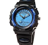 multifonctionnel ronde bracelet cadran pu hommes time100 conduit sport double affichage montre numérique