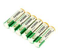 bty aa 3000mah Ni-MH batería recargable 6pcs