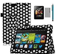"COCO FUN® Black Dots Book Design PU Leather Case with Screen Protector and Stylus for 7"" Amazon Kindle fire HDX"