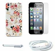 di rosa fiore modello caso e la protezione dello schermo duro e lo stilo e il cavo per iPhone 5 / 5s