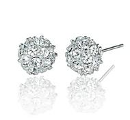 suerte bola de cristal de platino de 18 quilates chapado en joyas aretes hecho con auténtico cristal austria