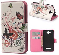 cerchi farfalla portafoglio in pelle dell'unità di elaborazione con la copertura caso del basamento per Alcatel One Touch pop c7