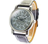 Unisex Round Dial PU banda quartzo relógio de pulso Bronze (cores sortidas)