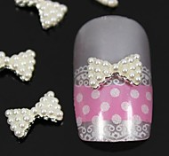 10pcs   White Pearl Bow Tie 3D DIY Alloy Nail Art Decoration
