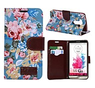 Jean Cloth Flowers Design Foldable Stand Leather Case for LG G3 D850 with Card Slots(Assorted Colors)