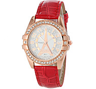 Women's Diamante Round Dial PU Band Quartz Analog Casual Watch (Assorted Colors)