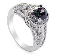 moda 925 anello rame placcato arcobaleno zircone