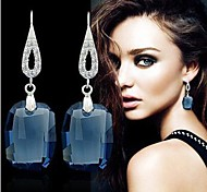 Fashion White Sterling Silver Crystal Drop Earrings
