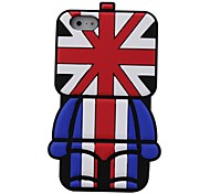 3D British UK Flag Robot Pattern Silicon Rubber Case for iPhone5/5s