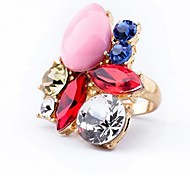 Lureme®Alloy Colorful Diamond Water Drop Ring