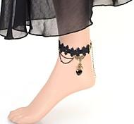 Fashion Vintage Heart Gem Lace Anklet