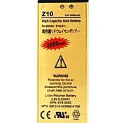 2680mAh reemplazo de alta capacidad oro recargable batería de polímero de iones de litio para z10 blackberry