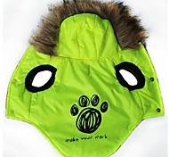 Cat / Dog Hoodie Green Dog Clothes Winter Cartoon