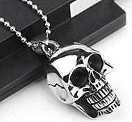 de acero de titanio cráneo personalidad de la moda de goteo negro collares colgantes de los hombres