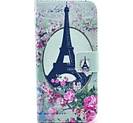 Mirror Flower Eiffel Tower Pattern PU Leather Cover with Stand and Card Slot for iPhone 6/6S