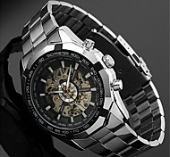 Men's Auto-Mechanical Skeleton Silver Steel Band Wrist Watch