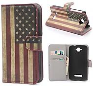 EE.UU. carpeta de la caja de cuero de la bandera americana con el soporte y la tarjeta de la ranura para alcatel one touch pop c7