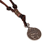 Unisex Fashion New Retro Coin Leather Necklace