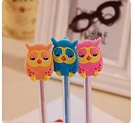 Cute OWL Design Plastic Gel Pens (Random Color x1pcs)