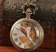 Women's Retro Butterfly Pattern Quartz Movement Necklace Watch
