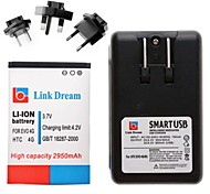 Link Dream  Cell Phone Battery+Charger+3 x Adapters  for   HTC EVO 4G  (2950 mAh)