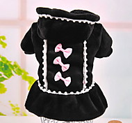 Dog Dress / Clothes/Clothing Black / Pink Winter Pearl / Bowknot