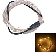 Xinyuanyang® USB  6W 100-0603 SMD Warm White Light LED Strip Lamp - Silver (DC 5V / 1000cm)