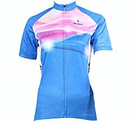PaladinSport Women's Sky Blue  Spring and Summer Style 100% Polyester Short Sleeved Cycling Jersey