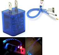 LED Flashing Light Dual USB 2-Port Charger Adapter PLUS Smiling Face 3in1 USB Cable for Samsung/iPhone/iPad/HTC (6Color)